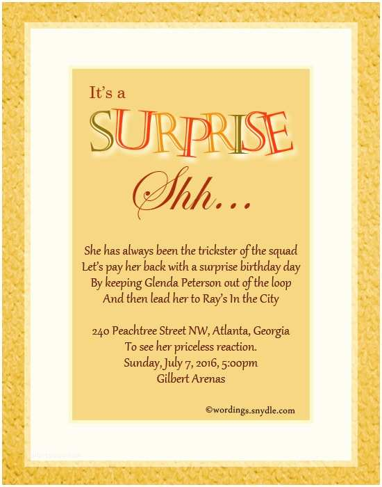 Party Invitation Text Message Surprise Birthday Wording Wordings And