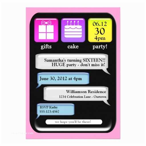 "Party Invitation Text Message Text Message Sweet 16 Party Invitations 5"" X 7"" Invitation"