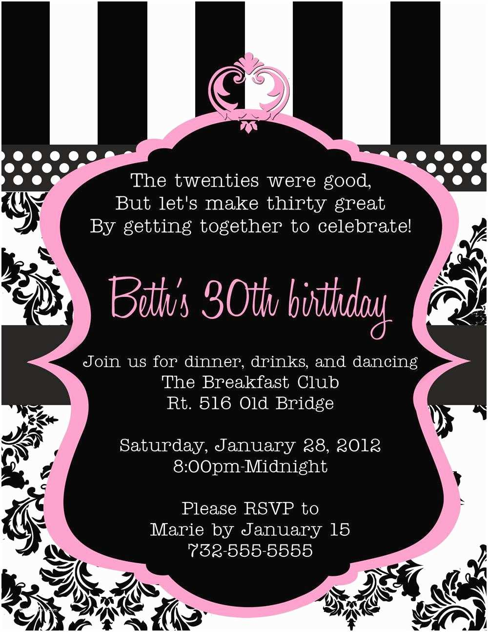 Party Invitation Wording 20 Interesting 30th Birthday Invitations Themes