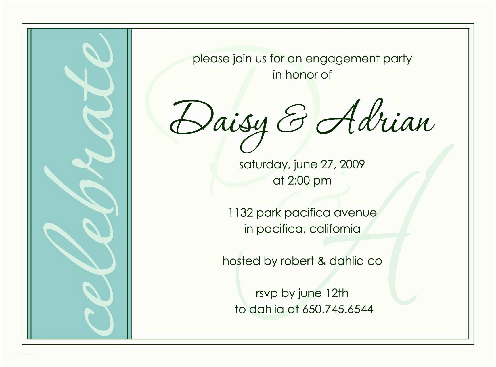 Party Invitation Wording Engagement Party Invite