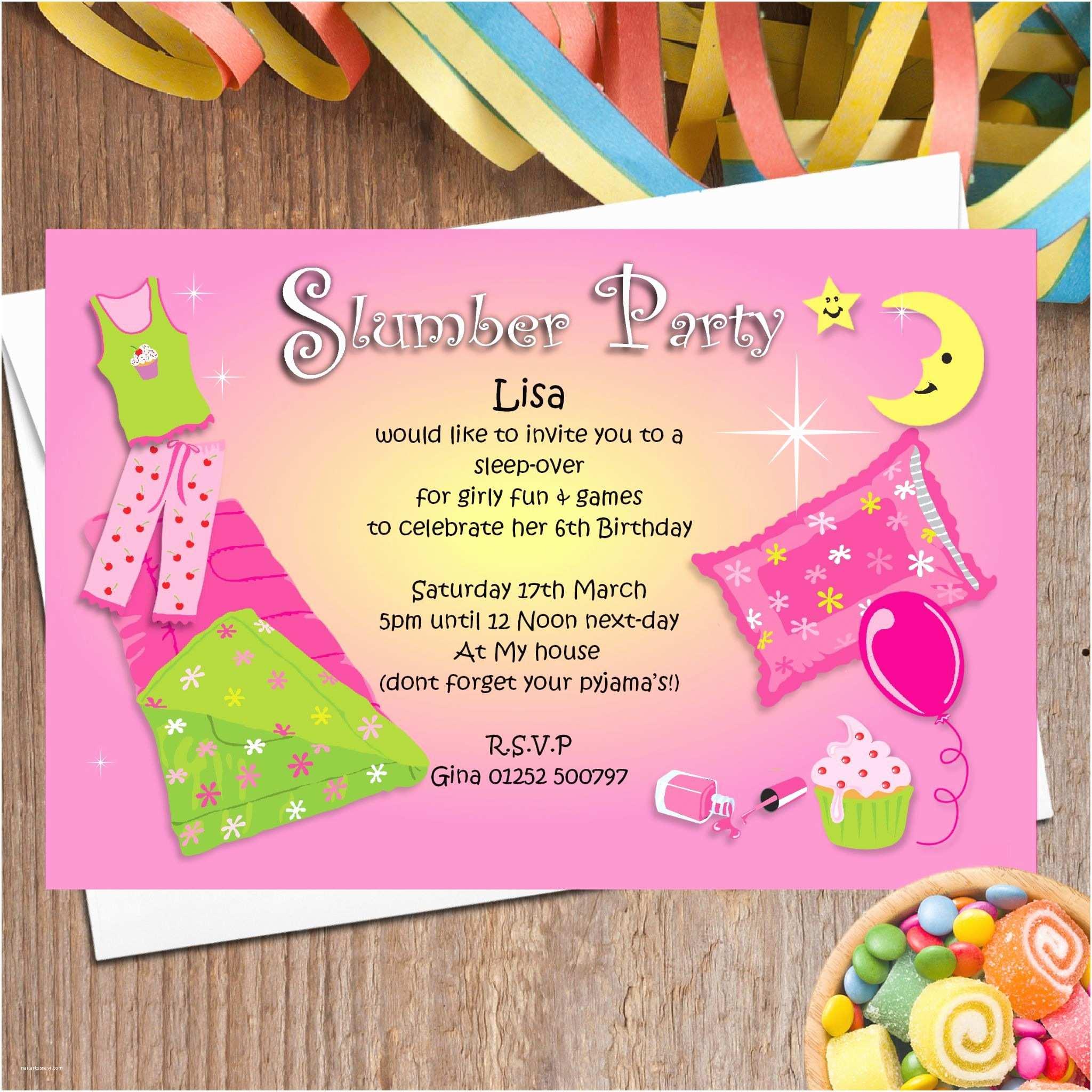 Party Invitations 10 Personalised Pyjama Sleep Over Party Invitations N45