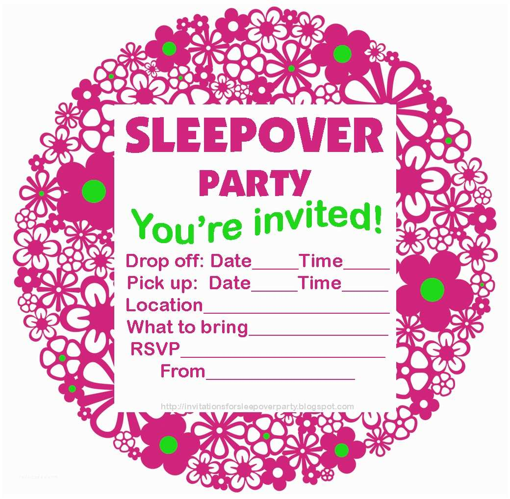 Party Invitations Invitations for Sleepover Party