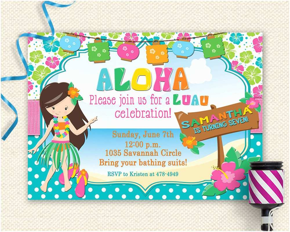 Party Invitations Online 20 Luau Birthday Invitations Designs