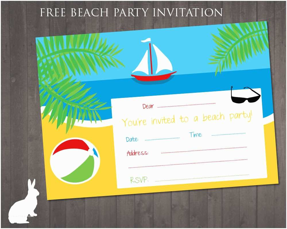 Party Invitations Online 8 Best Of Free Beach Printable Birthday Invitations