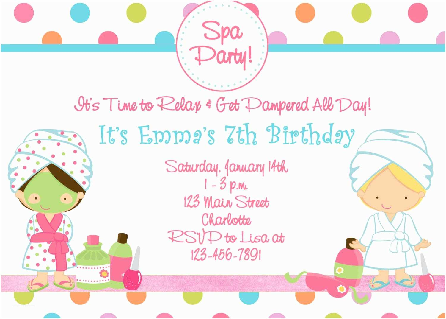Party Invitations Online Spa Birthday Party Invitations