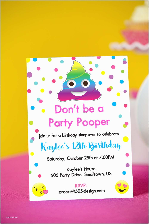 Party Invitations Party Pooper Birthday Party Invitation — 505 Design Inc