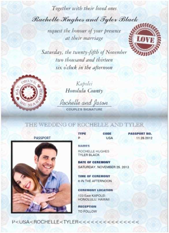 Passport Wedding Invitation Template 17 Passport Invitation Templates Free Sample Example