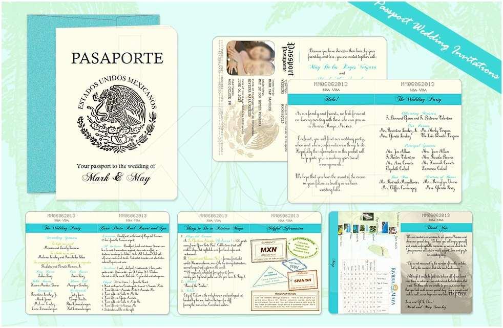 Passport Wedding Invitation Template Beach Paradise 01 Passport Wedding Invitation Kalidad