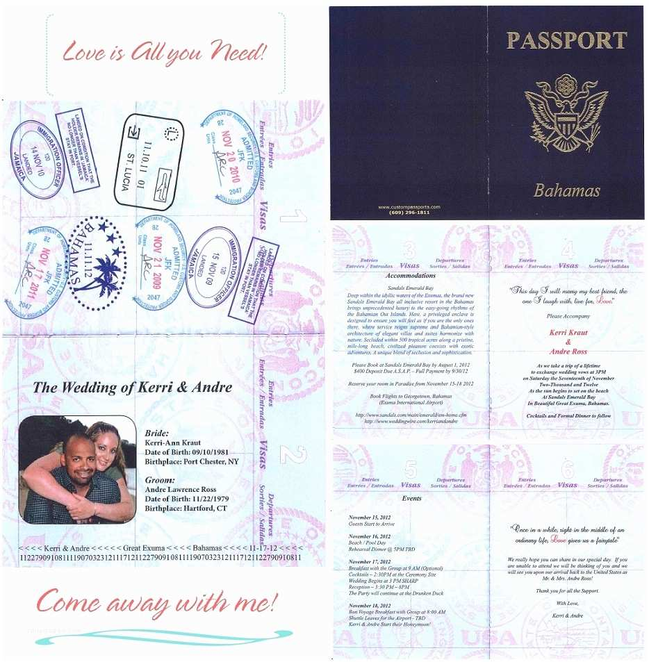 Passport Wedding Invitation Template Wedding Invitation Wording Wedding Invitation Templates