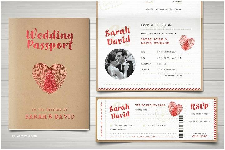 Passport Wedding Invitations 29 Vintage Wedding Templates Editable Psd Ai format
