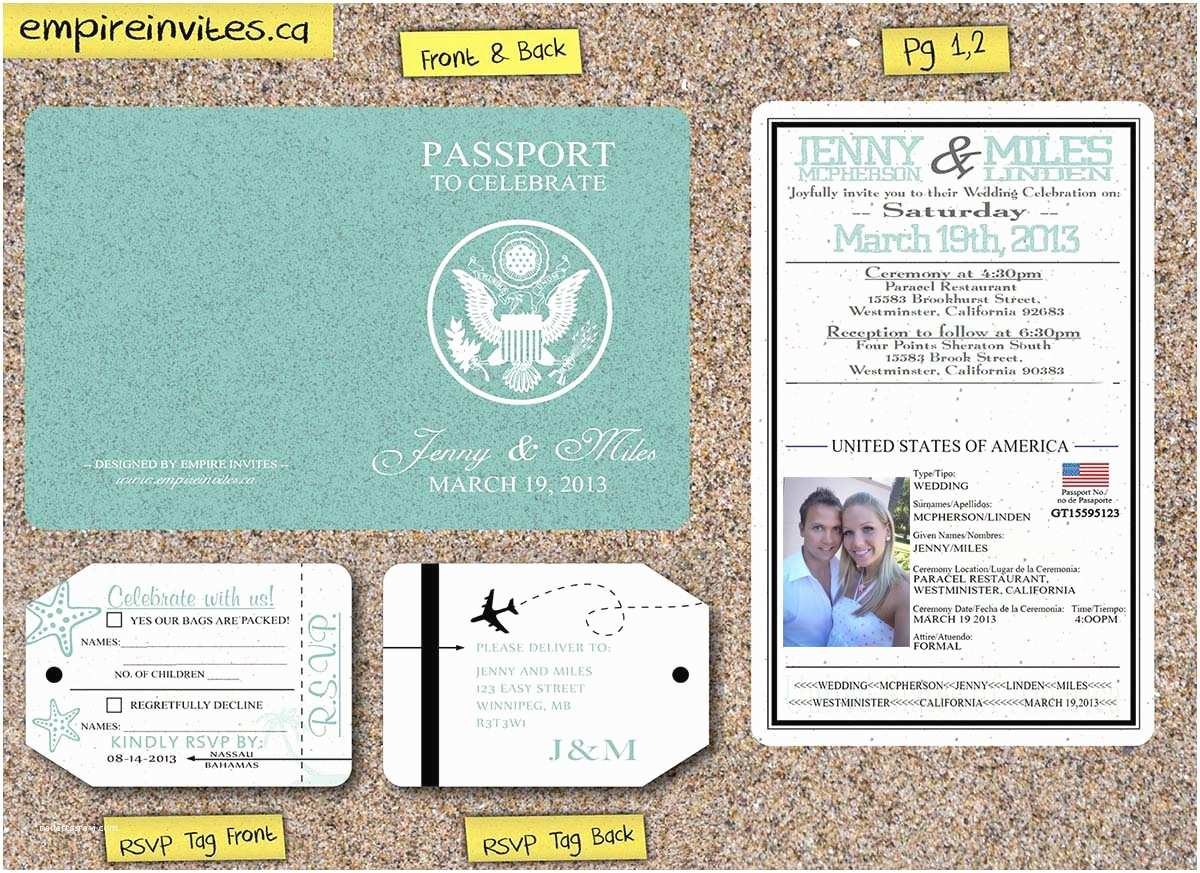 Passport Wedding Invitations Cheap Custom Affordable 2 Page Passport Wedding Invitations