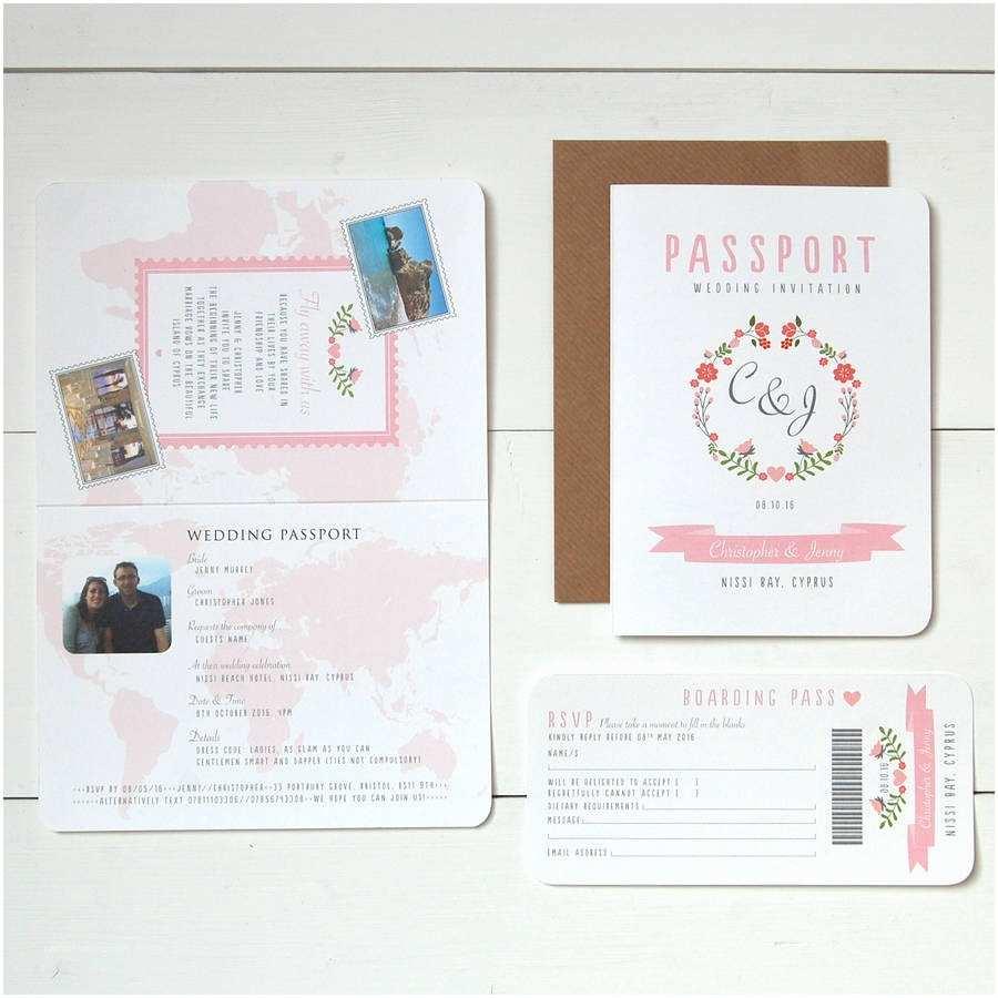 Passport Wedding Invitations Cheap Floral Passport to Love Wedding Invitation and Rsvp by