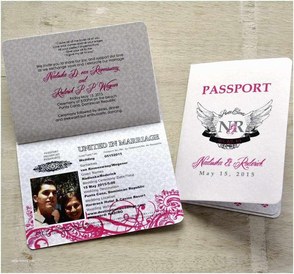 Passport Wedding Invitations Cheap Passport Wedding Invitation Design Fee Pink and Black
