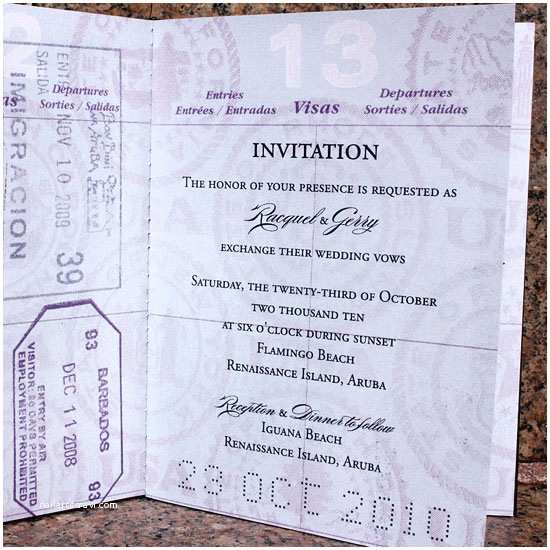 Passport Wedding Invitations Cheap Raquel Gerry S Custom Passport Wedding Invites