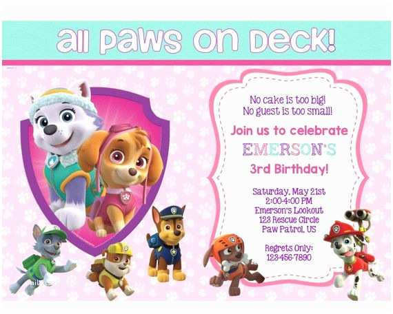 Paw Patrol Birthday Party Invitations Paw Patrol Birthday Invitation Paw Patrol by