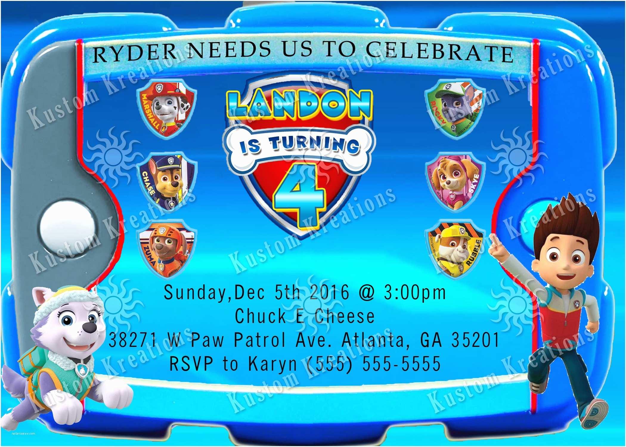 Paw Patrol Birthday Party Invitations Paw Patrol Birthday Invitations