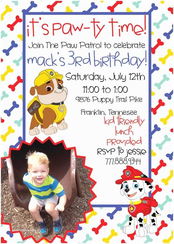 Paw Patrol Birthday Party Invitations Paw Patrol Birthday Printable Invitation