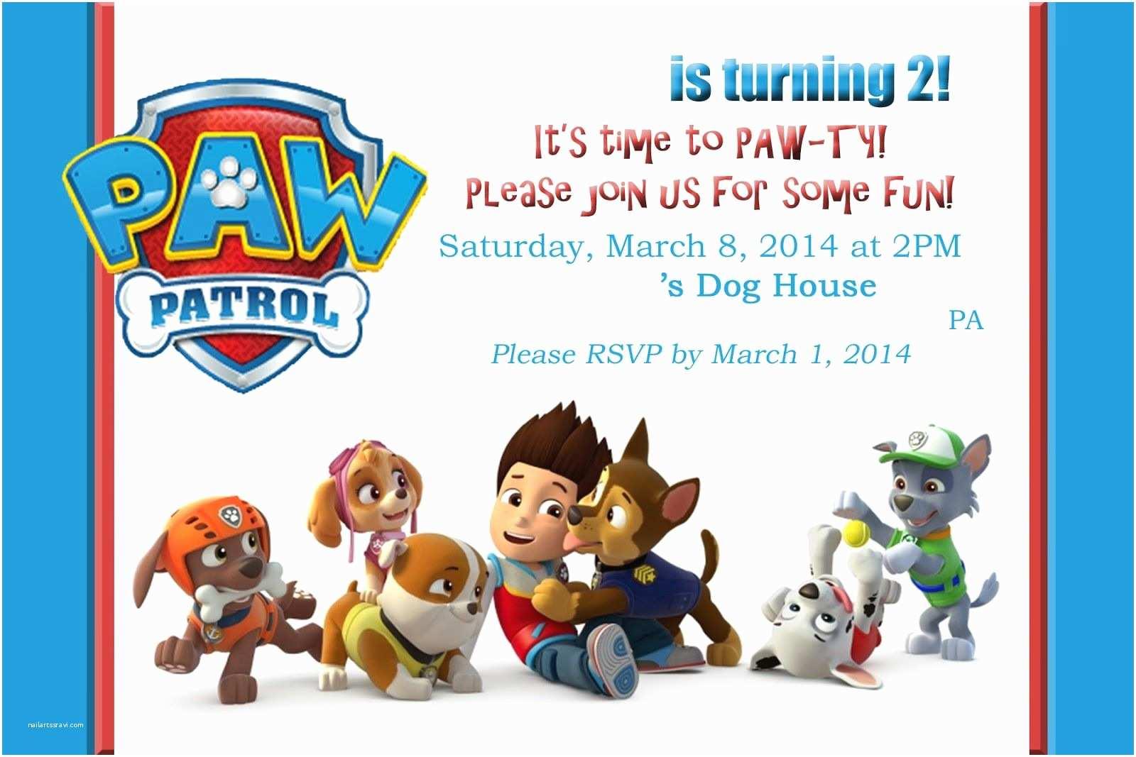 Paw Patrol Birthday Party Invitations Paw Patrol Invitations On Pinterest