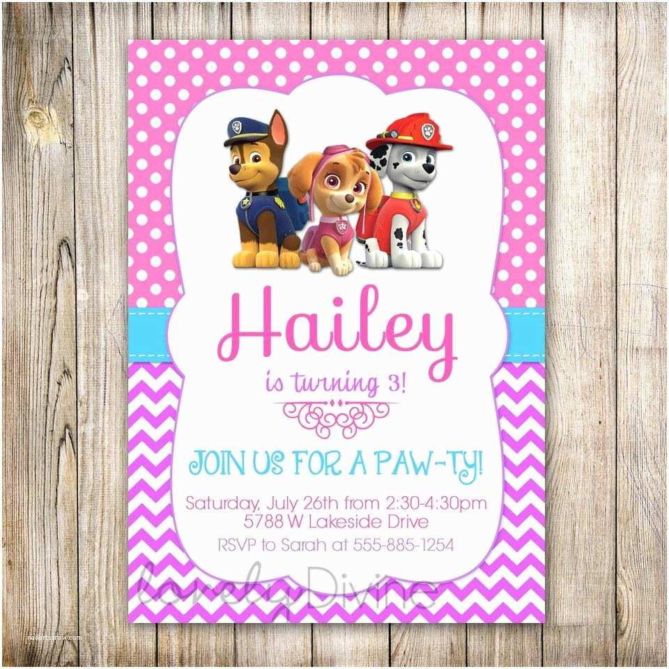 Paw Patrol Birthday Party Invitations Popular Items for Girls Paw Patrol On Etsy