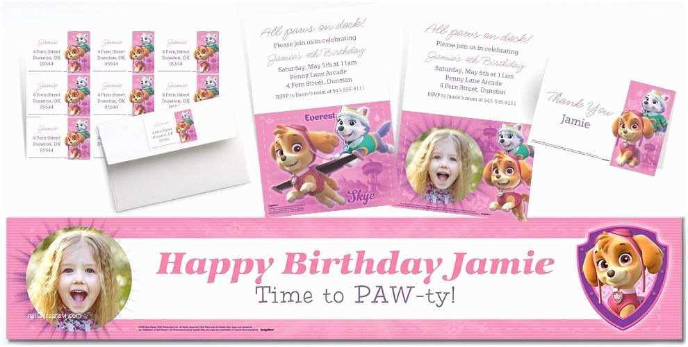 Paw Patrol Invitations Party City Custom Pink Paw Patrol Banners Invitations & Thank