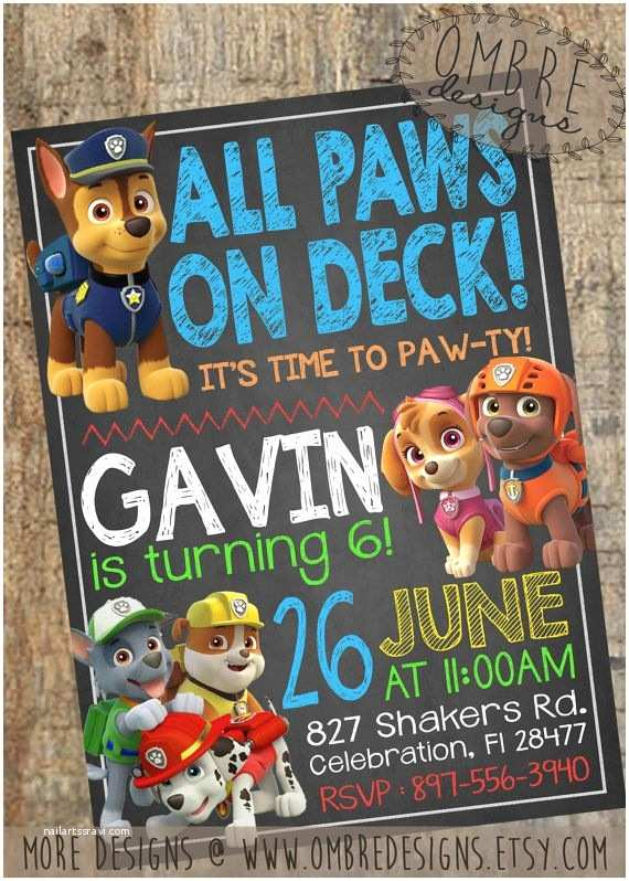 Paw Patrol Party Invitations 25 Best Ideas About Paw Patrol Invitations On Pinterest