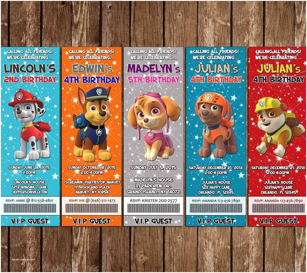 Paw Patrol Party Invitations Novel Concept Designs Birthday Ticket