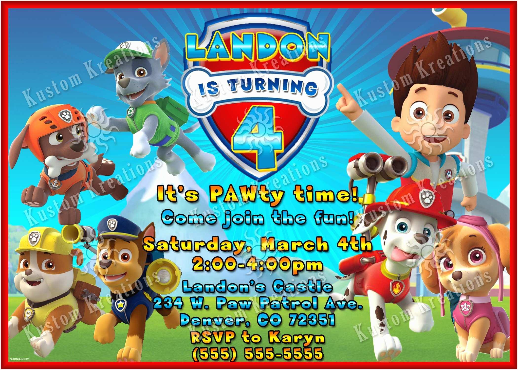 Paw Patrol Party Invitations Paw Patrol Birthday Invites Paw Patrol Birthday Invites as