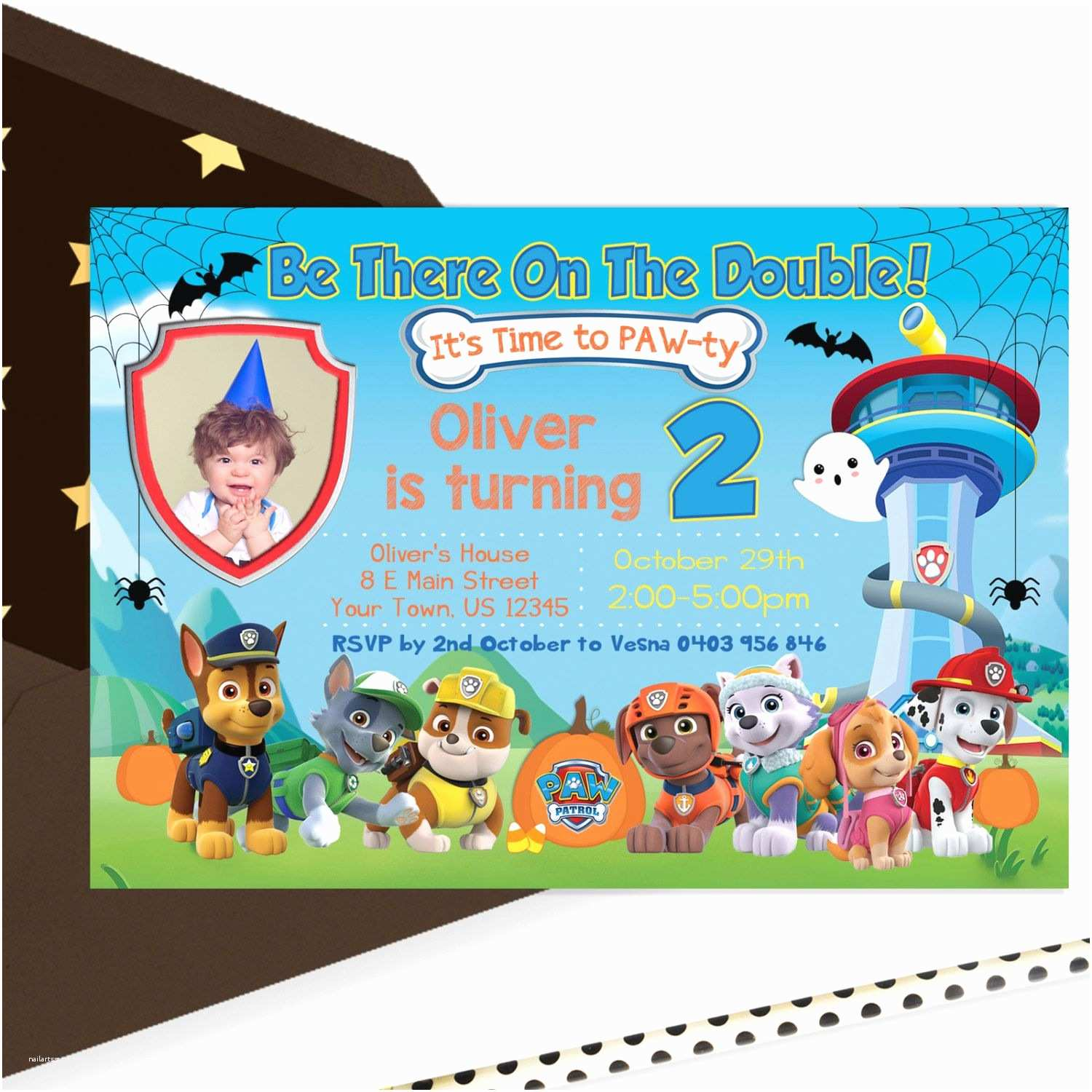 Paw Patrol Party Invitations Halloween Birthday