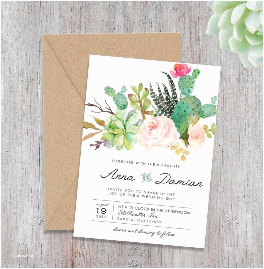 Peach Wedding Invitations Bohemian Wedding Invite Set Floral Wedding Invitations