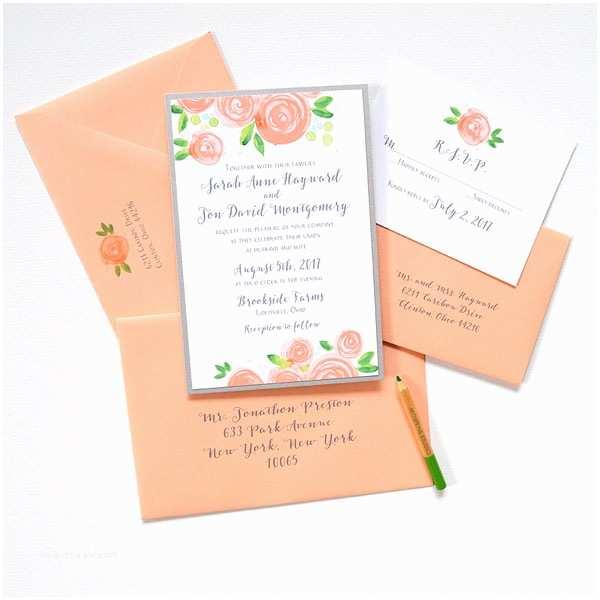 Peach Wedding Invitations Custom Invitations Unique Wedding Invitations Watercolor
