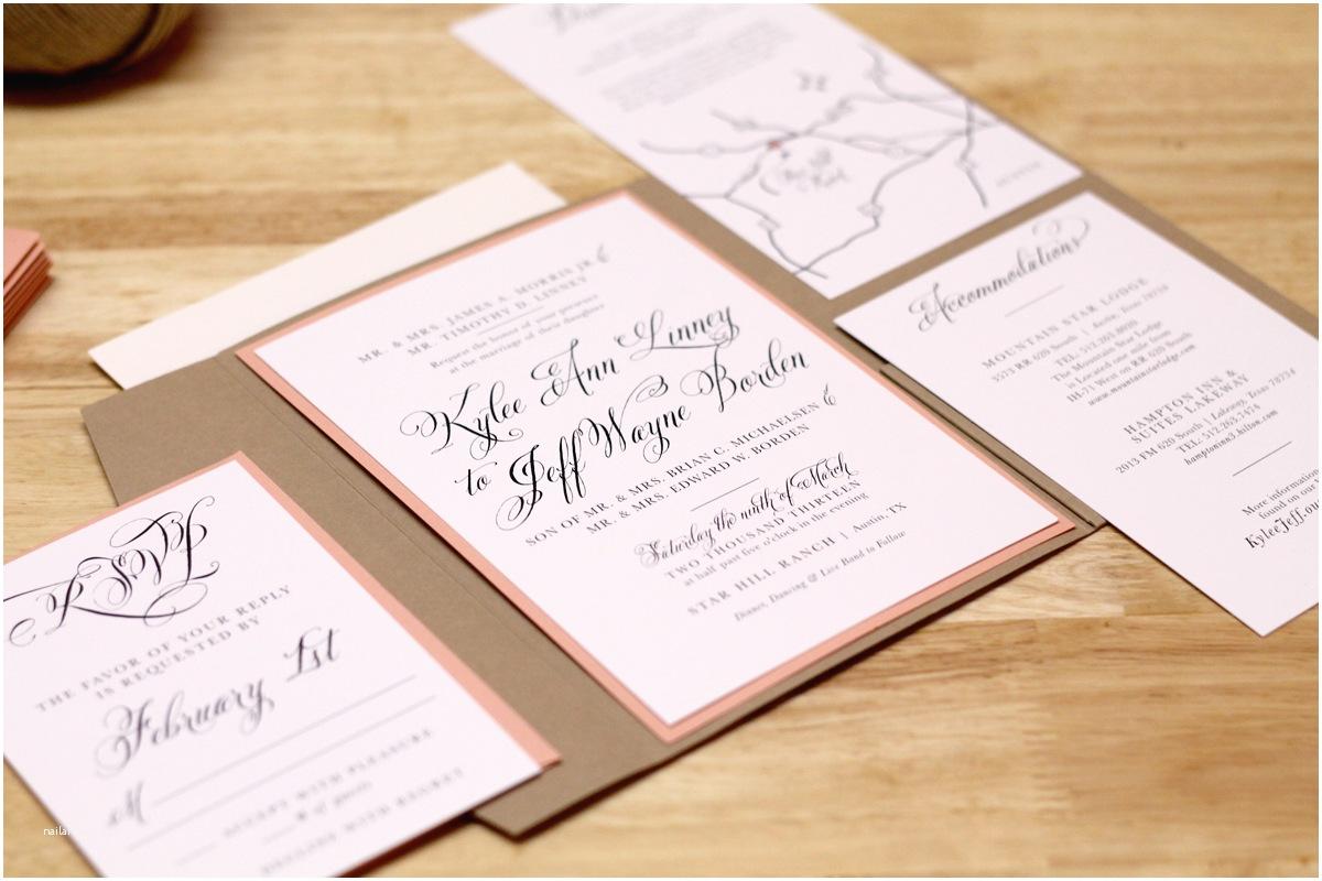Peach Wedding Invitations Kxo Design Rustic Peach Wedding Invitation with Kraft