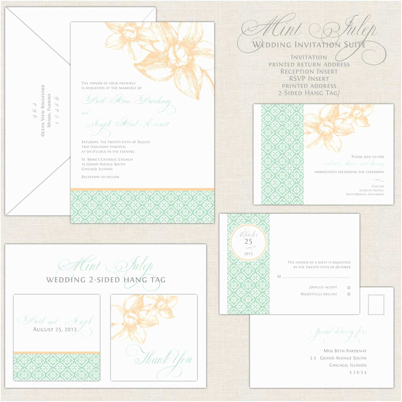 Peach Wedding Invitations Mint Wedding Invitations Peach & Mint Green Wedding Invites
