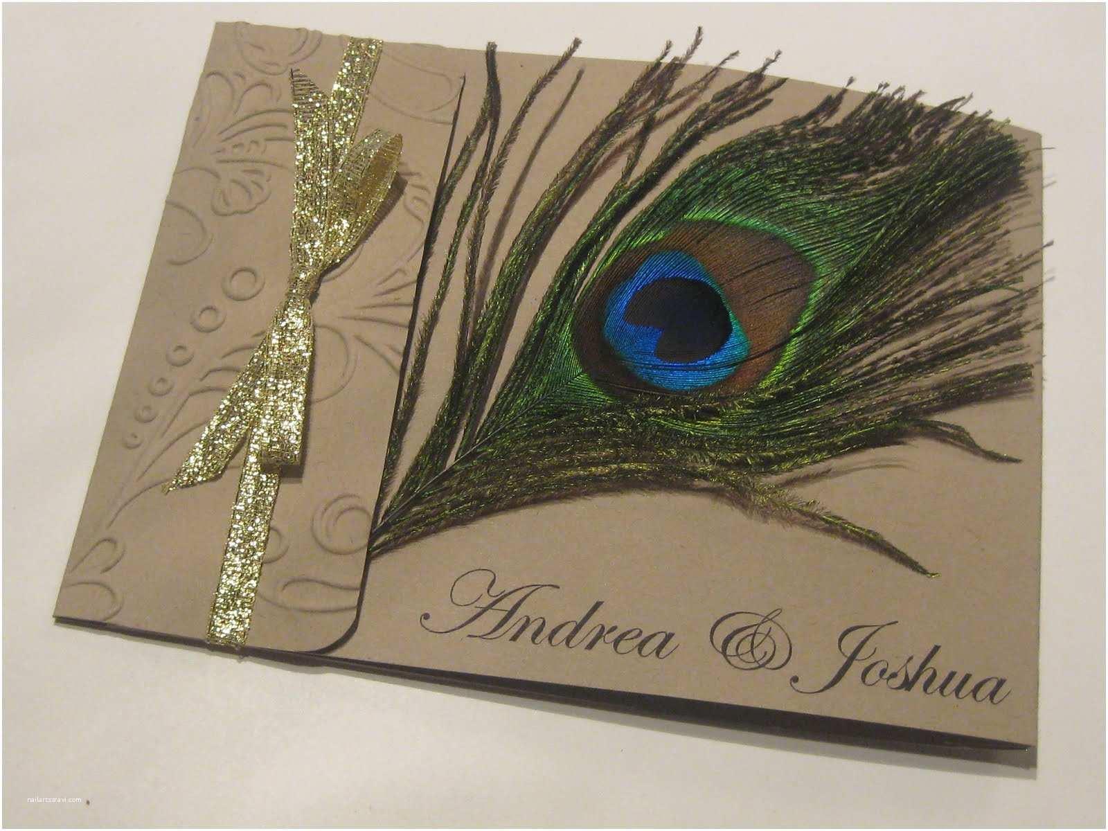 Peacock Feather Wedding Invitations Hand Stamped by ashley Romo Peacock Feather Wedding