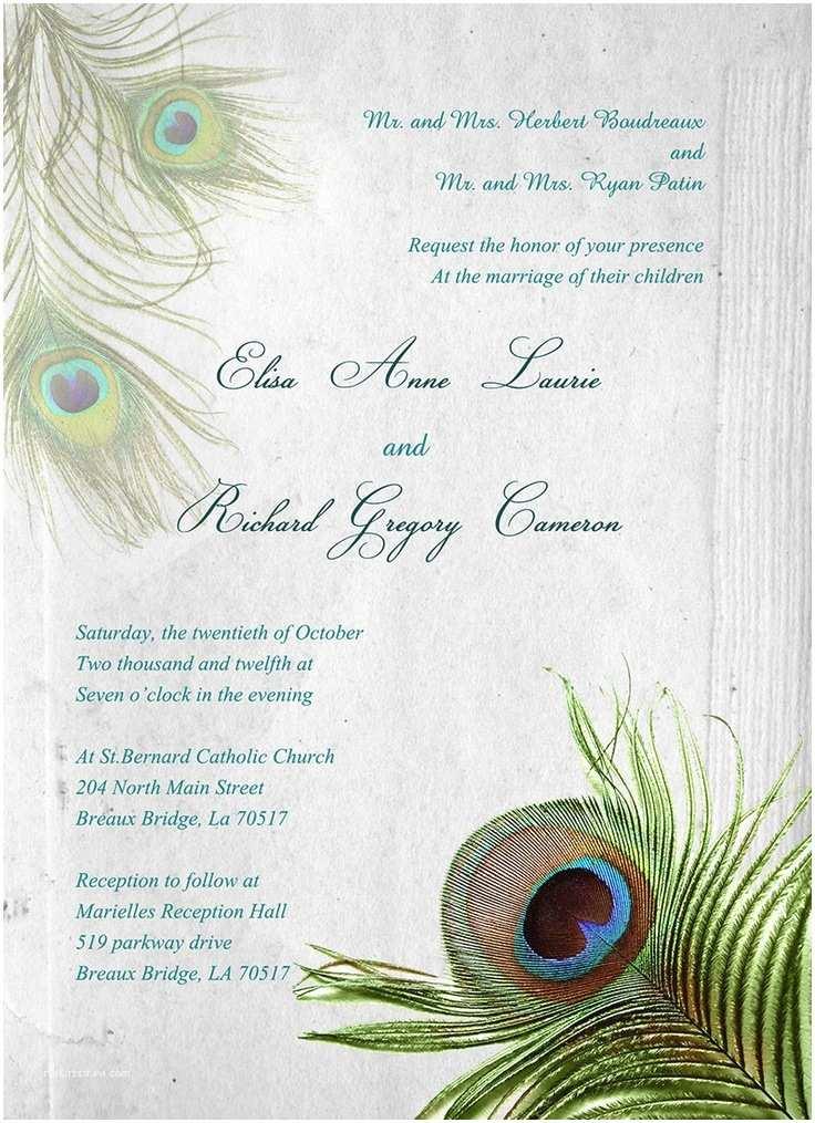 Peacock Feather Wedding Invitations Peacock Feather Invitation Set Prom Decor