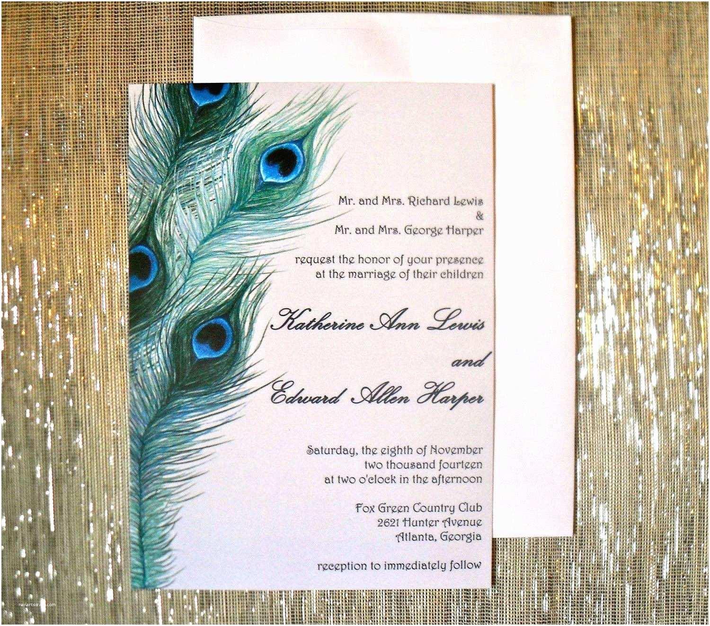 Peacock Feather Wedding Invitations Peacock Invitation Cards Peacock Wedding Invites Etsy
