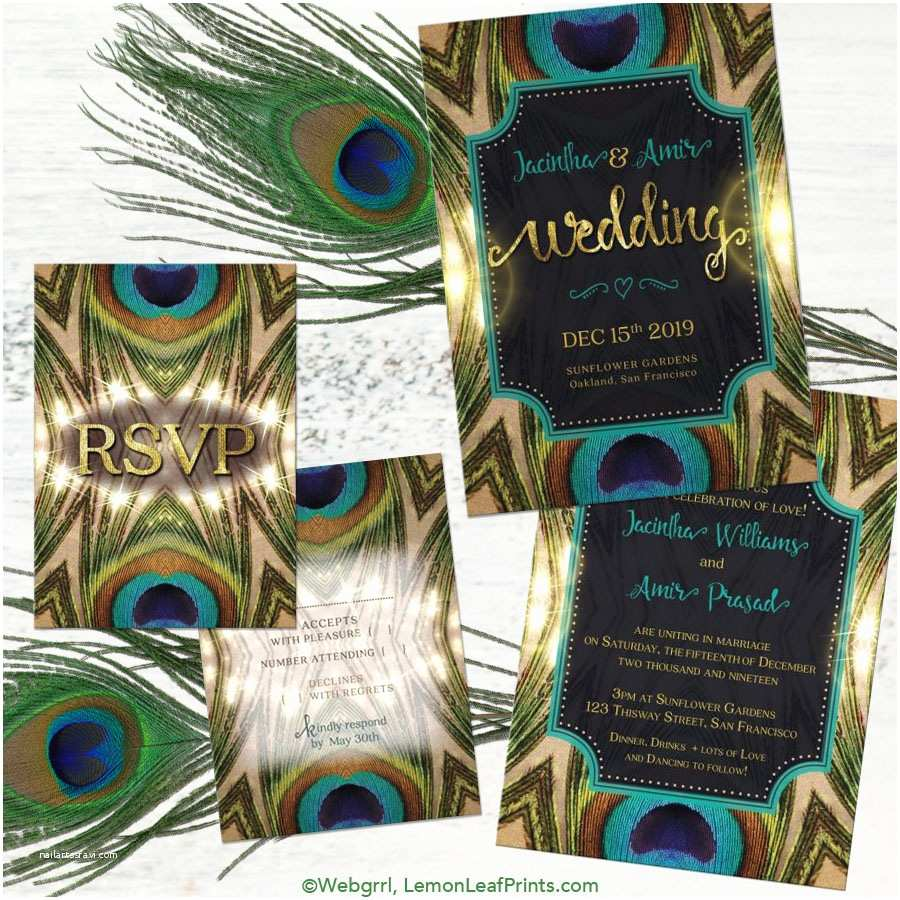 peacock wedding invitation sets