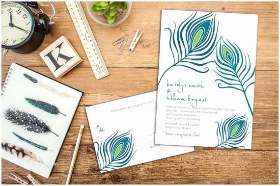 Peacock Wedding Invitation Sets Peacock Feathers Wedding Invitation Set Feather Wedding