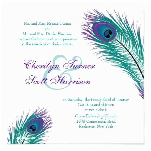 Peacock Wedding Invitations Cheap A Peacock to Perfection Wedding Invitation