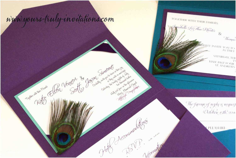 Peacock Wedding Invitations Sample Custom Corner Peacock Feather Pocket Folder Wedding