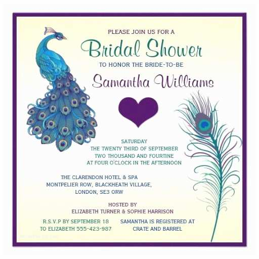 Peacock Wedding Shower Invitations 307 Best Teal and Purple Wedding Invitations Images On