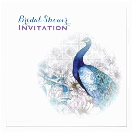 Peacock Wedding Shower Invitations Blue Peacock Vintage Style Wedding Bridal Shower