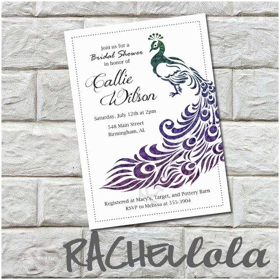 Peacock Wedding Shower Invitations Bridal Shower Invitation Printable Diy Peacock Birthday