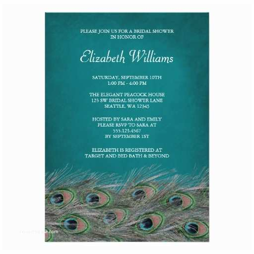Peacock Wedding Shower Invitations Elegant Peacock Feathers Bridal Shower Invitation