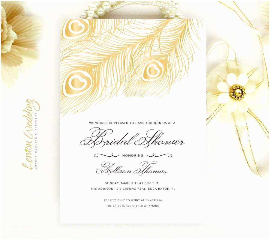 Peacock Wedding Shower Invitations Gold Peacock Wedding Shower Invitations Feather Bridal