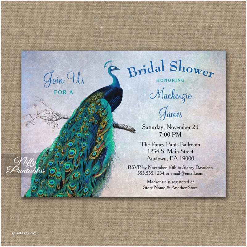 Peacock Wedding Shower Invitations Peacock Bridal Shower Invitation Blue Turquoise Printed