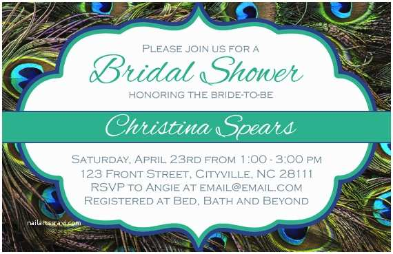 Peacock Wedding Shower Invitations Peacock Bridal Shower Invitation Teal Green Blue Peacocks