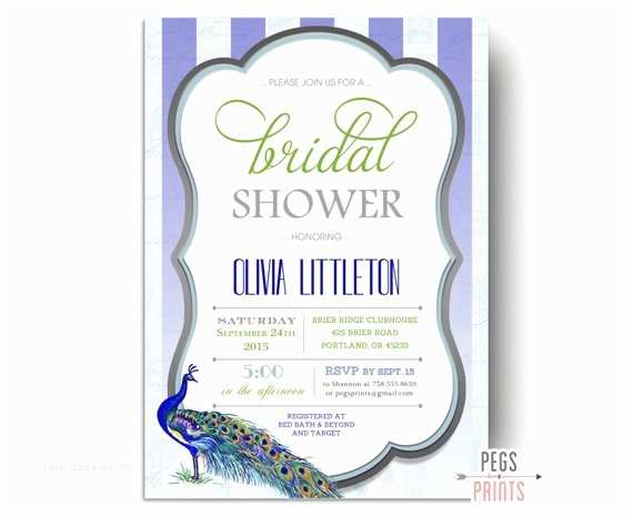 Peacock Wedding Shower Invitations Peacock Bridal Shower Invitations Printable Peacock Bridal