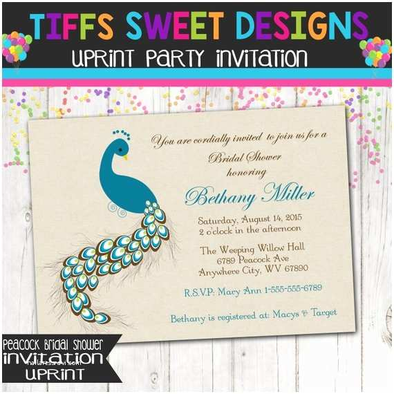 Peacock Wedding Shower Invitations Peacock Bridal Shower Party Invitation Printable Invite by