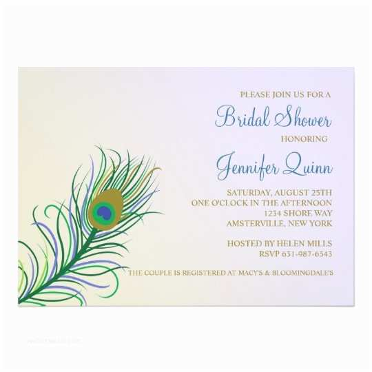 Peacock Wedding Shower Invitations Peacock Feather Bridal Shower Invitation