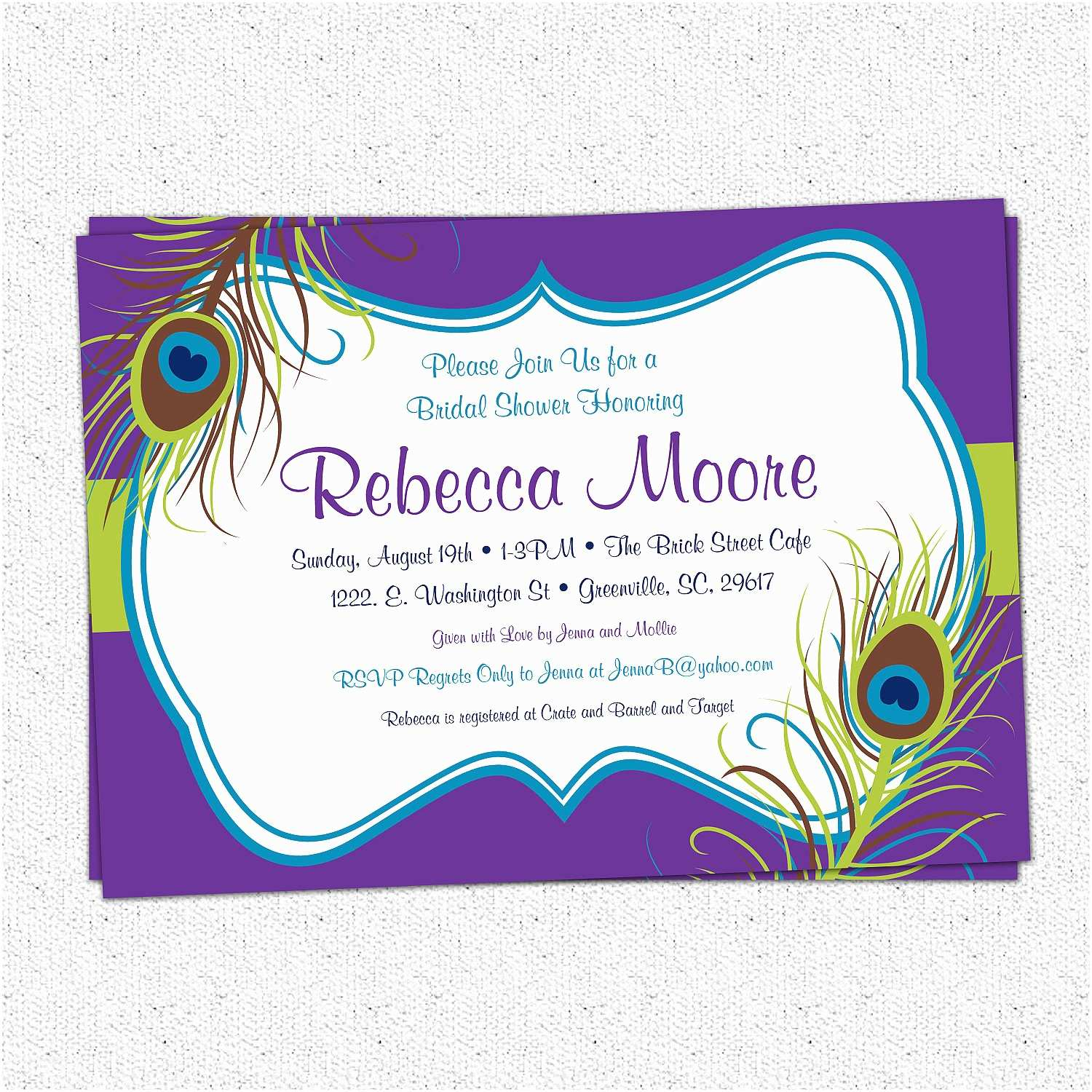 Peacock Wedding Shower Invitations Peacock Feather Invitations Bridal Shower Baby Shower